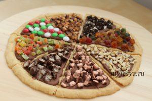Сладкая пицца с шоколадом